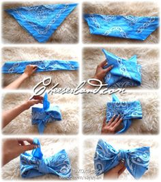 The Perfect Bandana Bow! - The Perfect Bandana Bow! The Perfect Bandana Bow! Do It Yourself Baby, Do It Yourself Fashion, My Hairstyle, Cute Hairstyles, Bandana Hairstyles For Long Hair, Bandana Bow, Bandana Crafts, Bandana Styles, Bandana Headbands