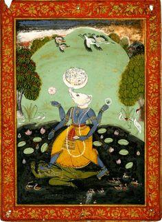 1790 - 1810. Varaha, the boar avatar of Lord Vishnu destroying the demon, resurrecting the earth on his tusks. Gouache on paper.