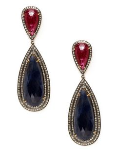 Ruby & Blue Sapphire Double Teardrop Earrings by Amrapali on Gilt.com  Total composite ruby and blue sapphire carat weight is 73.38  Total champagne diamond carat weight is 2.11  3¼ inches long  1 inch at widest point
