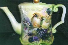 Blackberries and birds on porcelain teapot china painting study by porcelain artist Phyllis McElhinney
