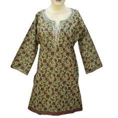 Handmade Block Printed Ladies Cotton Top Designer Neck With Sequins Work (Free Shipping) LLtop0002rr