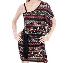 Poema+Red+Tan+Black+Aztec+Mexican+Print+One+Shoulder+Tie+Waist+Knit+Dress