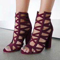 wine Caged Chunky Peep Toe Heels