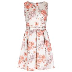 White, Coral & Pink Peony Print Structured Dress