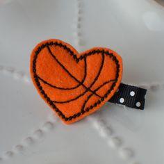Felt Basketball Hair Clip Cute Heart Shape by MyLittlePixies