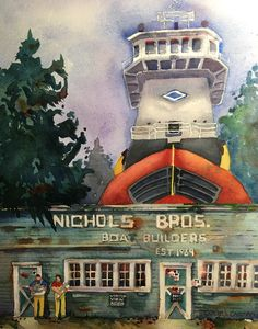 Whidbey Island, Creative Art, Watercolor, Fine Art, Drawings, Painting, Boats, Artists, Ideas