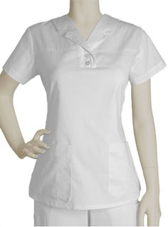 Style Code: Truly a unique scrub top, this white Barco Prima uniform features a notched lapel collar on a short sleeved top. (This item is out of stock at this time) Scrubs Outfit, Scrubs Uniform, Nursing Dress, Nursing Clothes, Scrubs Pattern, Medical Uniforms, Uniform Design, Medical Scrubs, Scrub Pants