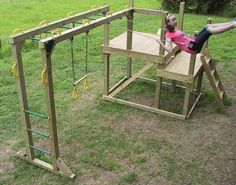 monkey bars and swings great idea to conserve on space