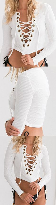 096cd0db525 Winter Knitwear Outfit-------- 18.99 White Deep V-neck Lace Up Front Tight  Crop Knitted Top by Stayingsummer!