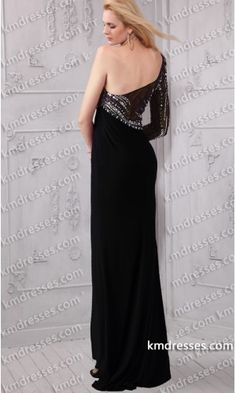 fabulous Sheer beaded bodice asymmetrical single long sleeve evening gown.prom dresses,formal dresses,ball gown,homecoming dresses,party dress,evening dresses,sequin dresses,cocktail dresses,graduation dresses,formal gowns,prom gown,evening gown.