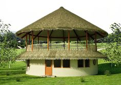 Round house with open air deck Round House Plans, Earth Bag Homes, Earthship Home, Modern Entrance, Natural Homes, Natural Building, House Blueprints, Home Design Plans, Home Pictures