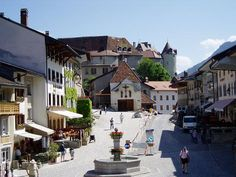 The main Street of Gruyere with the castle in the background, Switzerland