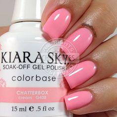 Kiara Sky Chatterbox - Make up and Beauty - Nagel Ideen Natural Nail Designs, Pink Nail Designs, Nails Design, Sky Nails, Pink Nails, Kiara Sky Gel Polish, Gel Polish Colors, Gel Color, Nail Manicure