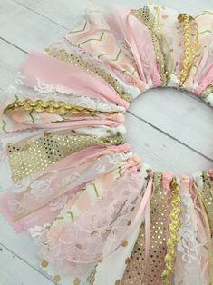 Pink and Gold Birthday Fabric Tutu Baby Girl Pink and Gold | Etsy Gold First Birthday Outfit, Gold Birthday, Fabric Tutu, Gold Fabric, Princess Theme Birthday, Pinking Shears, Shabby Look, Fabric Strips, Pink Girl