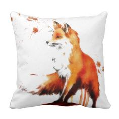 Beautiful Fox in the Fall Throw Pillow - This gorgeous, serene, romantic cushion shows a fox looking alert with autumn leaves swirling past.   #foxpillows #foxes #fallitems