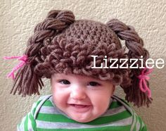 Doll Hair Wig Hat - Cabbage Patch Doll - Baby and Toddler sizes - 6 9 12 months 2T 3T