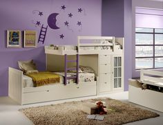 Cama tren infantíl con 3 camas Single Bedroom, Girls Bedroom, Bedroom Ideas, Bunk Rooms, Bunk Beds, Wood Projects, Kids Room, Toddler Bed, Sweet Home