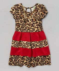 http://www.zulily.com/invite/vhanson979 This Red Leopard Baby Doll Dress & Necklace - Girls is perfect! #zulilyfinds