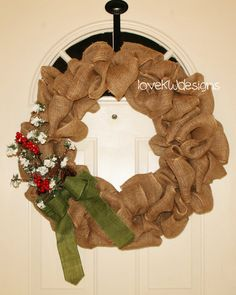 Large Burlap Christmas Wreath with Snowy Berry by loveKWdesigns, $70.00