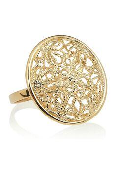 gold-plated filigree ring by Isharya Isharya, Discount Designer Clothes, Filigree Ring, Clothes For Sale, Druzy Ring, 18th, Plating, Engagement Rings, Shoe Bag