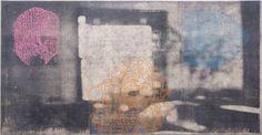 "DERRICK BUISCH, STUDIO NOTATIONS (UPSTAIRS ROOM), Silkscreen and Oil Paint on Canvas,39 1/2 x 76 1/2"""