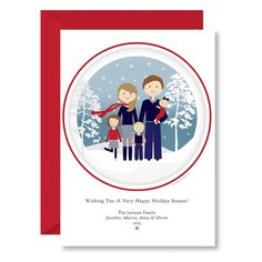 Custom Illustrated Family Portrait Christmas Holiday Card, Printable Holiday Card, Snowy Winter Celebration by Head Hand & Heart