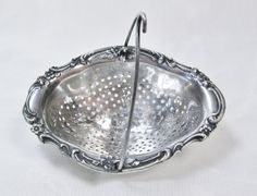 Antique 1869 Sterling Spout Basket Tea Strainer