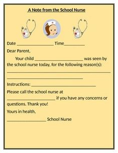 NOTE FROM THE SCHOOL NURSE