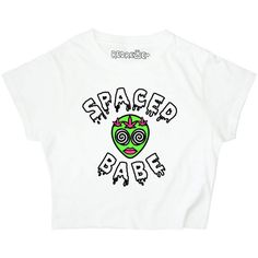 Spaced Babe Crop Top 90s Space Alien Grunge Weed Stoner Kawaii Slime... ($20) ❤ liked on Polyvore featuring tops, black, crop tops, women's clothing, loose fitting crop top, graphic tops, loose crop top, long loose tops and neon crop top