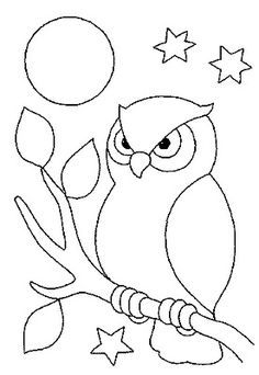 Farm Animal Coloring Pages For Preschool Owl Patterns, Applique Patterns, Applique Designs, Quilt Patterns, Embroidery Designs, Art Drawings For Kids, Bird Drawings, Animal Drawings, Easy Drawings