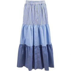 Pre-owned Mds Stripes Maxi Skirt (£150) ❤ liked on Polyvore featuring skirts, blue, women clothing skirts, blue skirt, long blue skirt, long skirts, floor length skirt and ankle length skirts