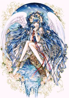 Blue angel with long blue hair, white feather wings, Art Nouveau dress, & ivory roses by manga artist Shiitake.