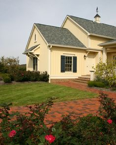 New Old Farmhouse: Brick Pathway leading to front entry traditional exterior