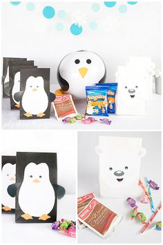 Party Favors, Printable Files, Polar Bears & Penguins party theme from Pigskins & Pigtails Penguin Birthday, Penguin Party, Bear Birthday, Boy Birthday Parties, 5th Birthday, Birthday Celebration, First Birthday Winter, Winter Wonderland Birthday, Polar Bear Party