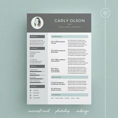 Modern Resume Template and Cover Letter Template for Word | Photoshop | Indesign | DIY Printable Pack | Modern and Professional Curriculum vitae | Lebenslauf