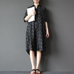 Women cotton linen printing loose dress