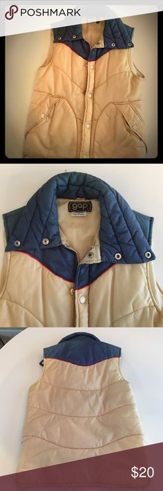 Vintage 70's Gap Puffer Vest Perfect addition to a 70's style wardrobe. Vest yellow and blue with red accent stripe. Great vintage condition. No stains or tears from a smoke-free home. GAP Jackets & Coats Puffers