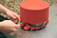 Good fondant tips! Use shortening on knife when cutting cake tier base. Make fondant shiny with a steamer. Roll out BIG fondant with PVC pipe (inexpensive, light, no sticking!).