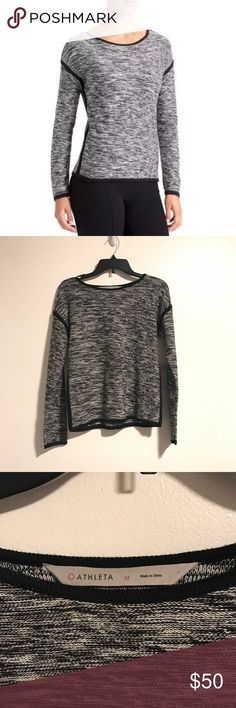 NWT Athleta Retreat Grey Black Sweater Brand new with tags black and grey sweater from Athleta. Size medium. Originally $89. No trades! Athleta Sweaters