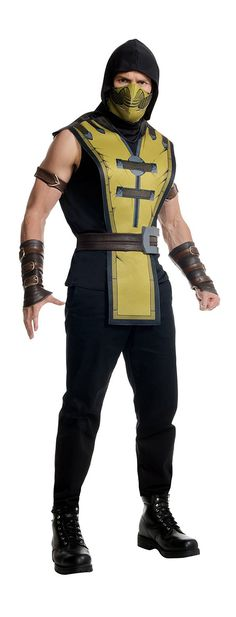 Officially licensed Mortal Kombat X Scorpion costume. Includes mask, tabard, belt, and gauntlets. Does not include undershirt, pants or boots.