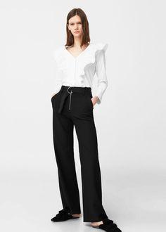 Ruffled cotton shirt | MANGO