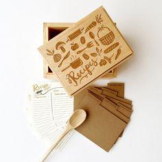 Reliquia de la caja de la receta maple y nogal caja hecha a mano laser grabado con la ilustración incluye separadores y tarjetas de recetas ...