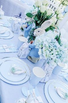 Take a look at this beautiful Peter Rabbit-themed Easter party! The table settings are fantastic! See more party ideas and share yours at CatchMyParty.com Peter Rabbit Cake, Peter Rabbit Party, Rabbit Photos, Farm Party, Easter Party, Birthdays, Table Settings, Table Decorations, Anniversaries