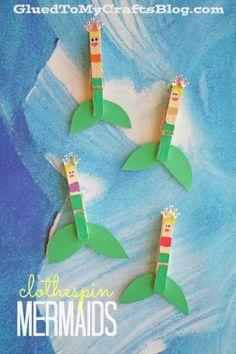 Clothespin Mermaid Puppets - Summer Ocean Themed Kid Craft Idea #gluedtomycrafts