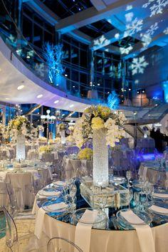 Tall centerpieces featuring crystal columns, hydrangea, phaleonpsis #NewberryBros #Denver #Wedding