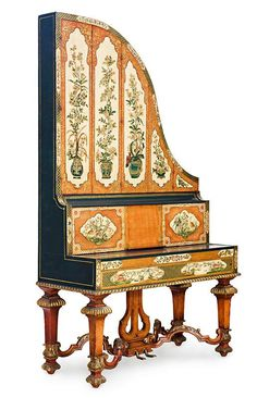 A rare painted English 'Giraffe' grand piano, by George Rogers
