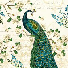 Masterpiece Art - Peacock Arbor II Ivory Sq, $18.30 (http://www.masterpieceart.com.au/peacock-arbor-ii-ivory-sq/)