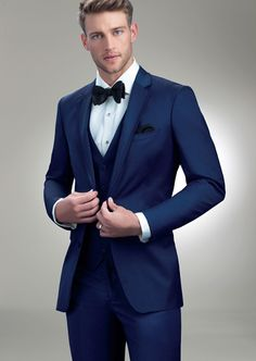 #SavviFormalwear Cobalt Brunswick by Allure Men - Luxury wool, 2 button, Navy, Shown with coordinating accessories.