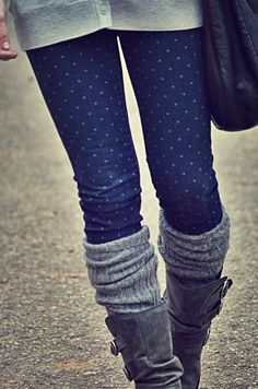 Long gray sweater, polka dot jeans, gray boot socks