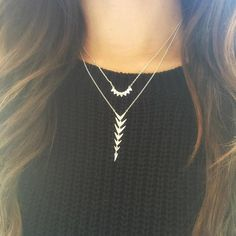 Need Now: Stacked delicates are your new go-to outfit maker. The Aurora Necklace and Arrow Drop Necklace shown here layer perfectly and both flip to a sparkly pavé for 2 unique looks. Shop through link above or ask your Stylist to order for you! #stelladotstyle
